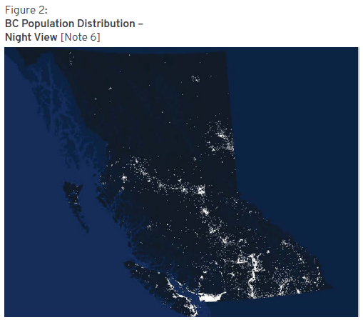 BC Population Distribution –  Night View