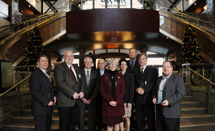 (L-R) Ken Higginbotham (FPMAG), Corrie Archer, Peter Cook, Barry Cavens, Her Honour, the Honourable Judith Guichon, Lieutenant Governor of BC, Catherine Roome, Danny Cox, Brian Cook, Alan Fitzpatrick (The Nechako Group)