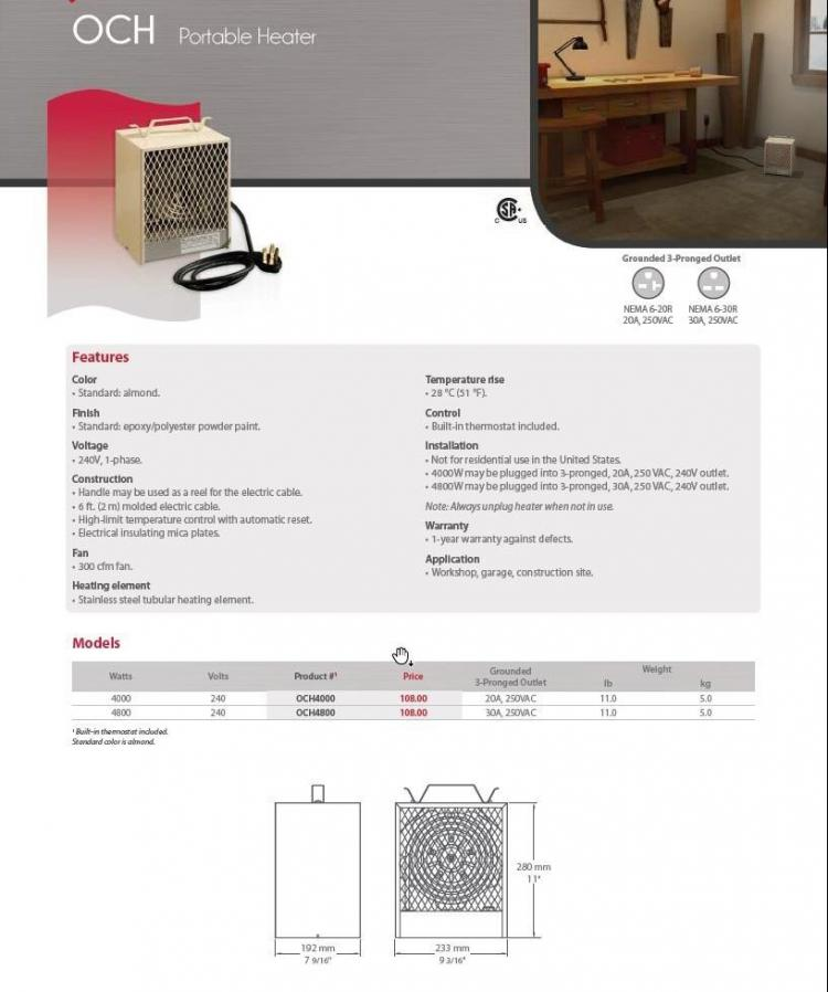 ​​​​​​​  Figure 5: Product catalog listing for recalled unit heater