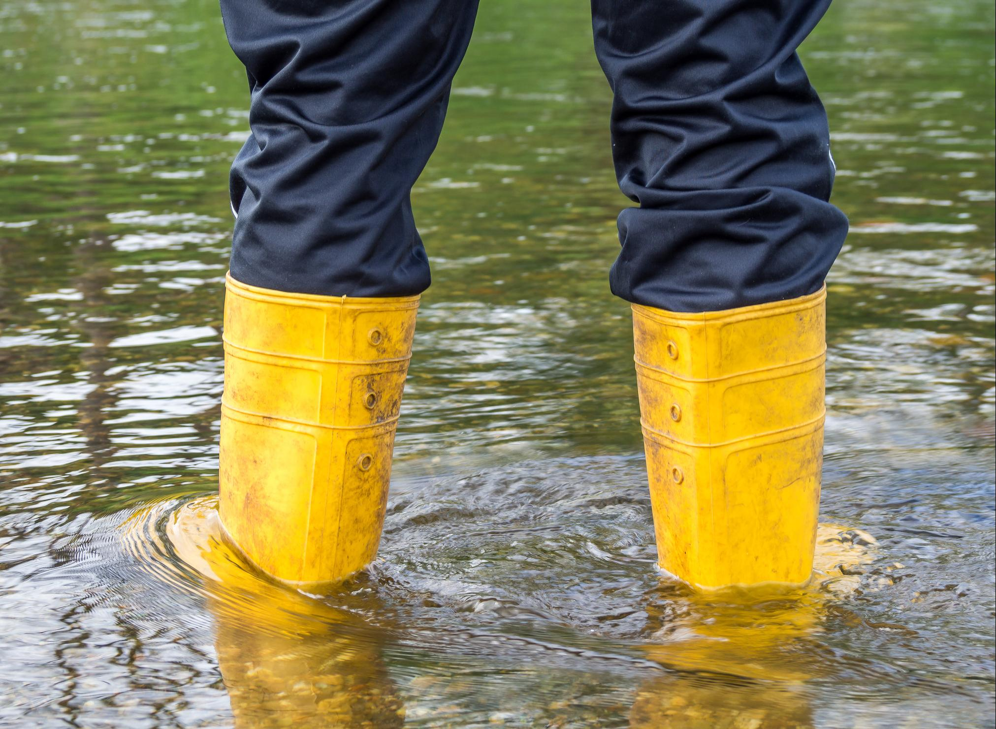 wellies in a flood