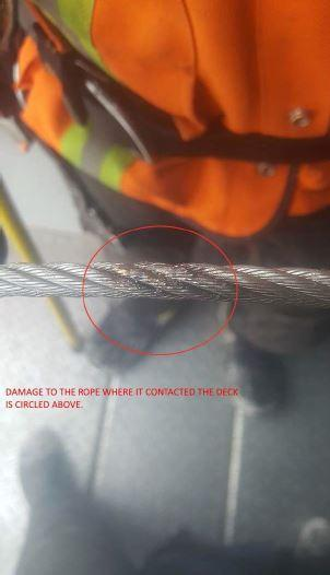 Damage to rope