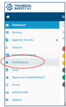 Sidebar panel with Certification