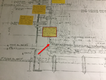 Location of failure on boiler drawing (close-up)
