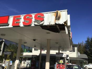 Esso station sign fire